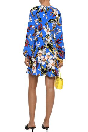 DIANE VON FURSTENBERG Pleated floral-print silk crepe de chine mini dress