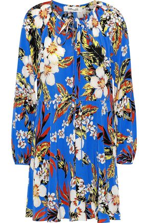 DIANE VON FURSTENBERG Pleated floral-print silk crepe de chine mini dress