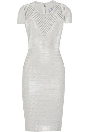 HERVÉ LÉGER Avery embroidered tulle-paneled metallic bandage dress
