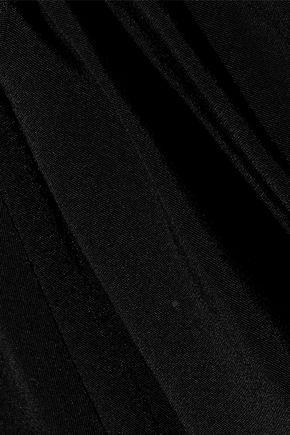 DIANE VON FURSTENBERG Striped satin-trimmed ruched silk top