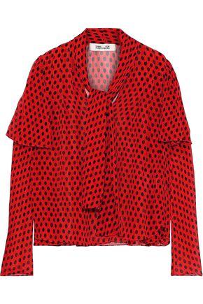 DIANE VON FURSTENBERG Ruffled polka-dot silk-georgette blouse