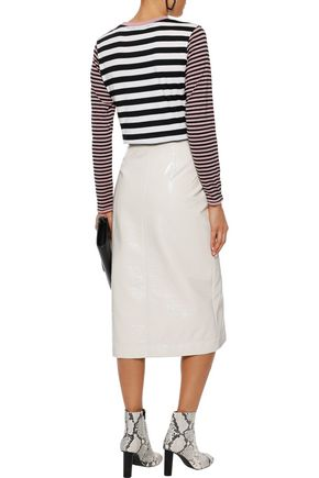 ALEXACHUNG Embroidered striped cotton-blend jersey top