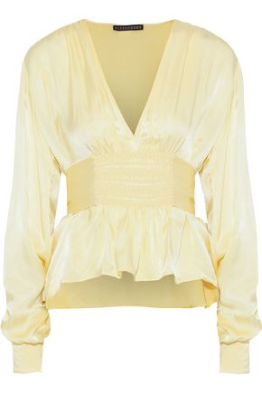 ALEXACHUNG Shirred satin-crepe blouse