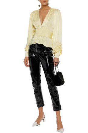 ALEXACHUNG Shirred satin-crepe blouse
