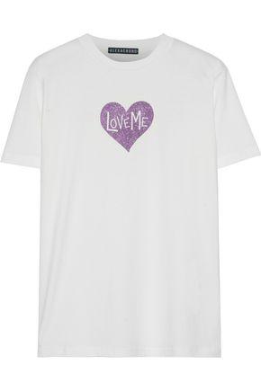 ALEXACHUNG Glitter-appliquéd cotton-jersey T-shirt