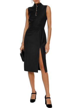 ALEXACHUNG Crystal-embellished wool-blend dress