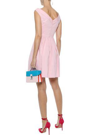 REDValentino Gathered stretch-cotton poplin mini dress