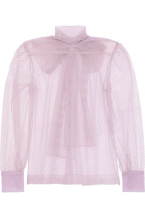 ALEXACHUNG Flocked tulle blouse