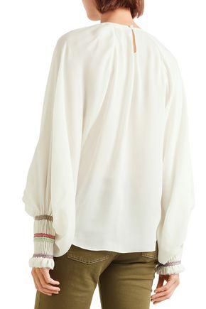 CHLOÉ Braid-trimmed silk-crepe blouse