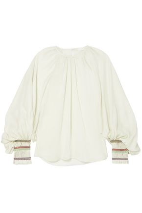 CHLOÉ Braid-trimmed silk-crepe blouse