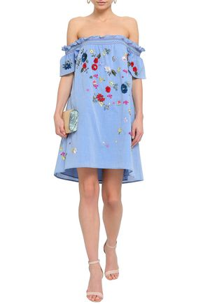 JOIE Clarimonde off-the-shoulder embellished cotton-chambray mini dress