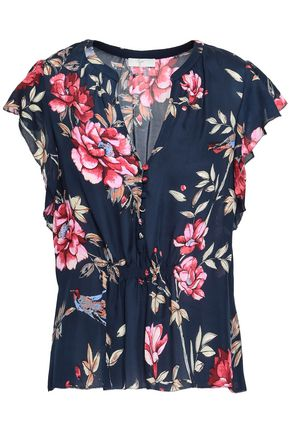 JOIE Crisbell floral-print silk top