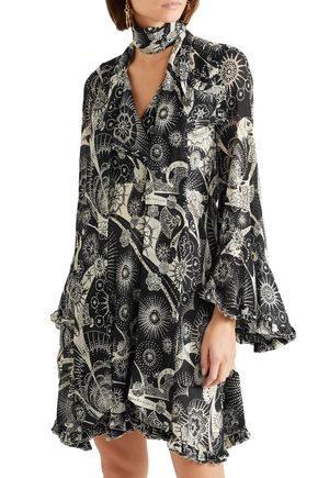 CHLOÉ Printed cotton and silk-blend georgette mini dress