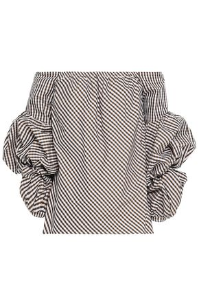 PETERSYN Off-the-shoulder gingham cotton-poplin top