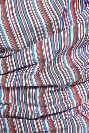 PETERSYN Mesa off-the-shoulder ruched striped cotton-seersucker top