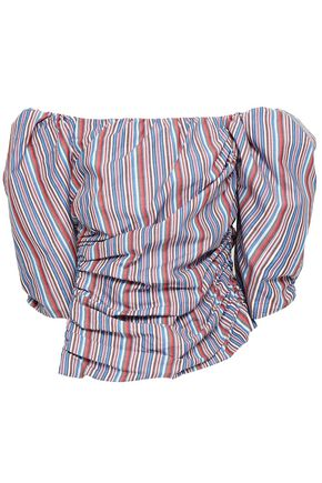 PETERSYN Mesa off-the-shoulder ruched striped cotton-seersucker top
