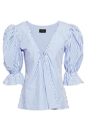 PETERSYN Alexis striped cotton-poplin top