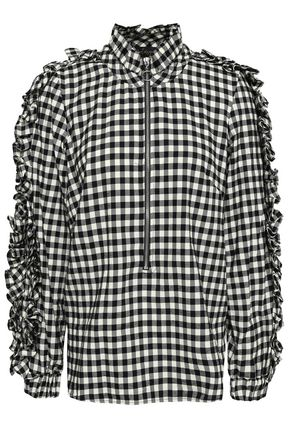 PETERSYN Stewart ruffled checked cotton-flannel blouse