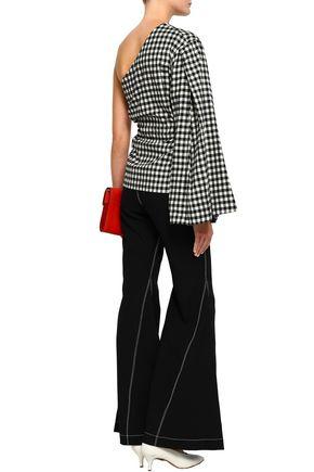 PETERSYN Bradford one-shoulder gingham cotton-flannel top