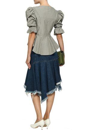 PETERSYN Mimi striped cotton-poplin peplum blouse