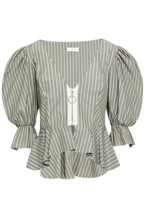 PETERSYN Mimi striped cotton-poplin peplum blouse