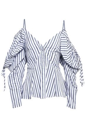 PETERSYN Alice cold-shoulder striped cotton-poplin blouse