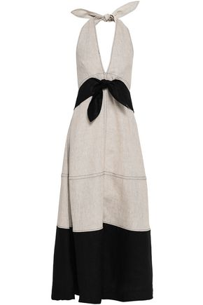 PAPER London Bow-detailed linen halterneck maxi dress