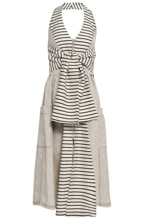 PAPER London Tie-front striped linen halterneck midi dress