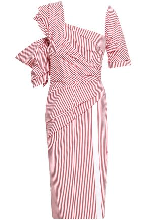 PETERSYN Kennedy striped cutout cotton-poplin dress