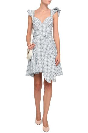 PETERSYN Ruffled printed cotton mini dress