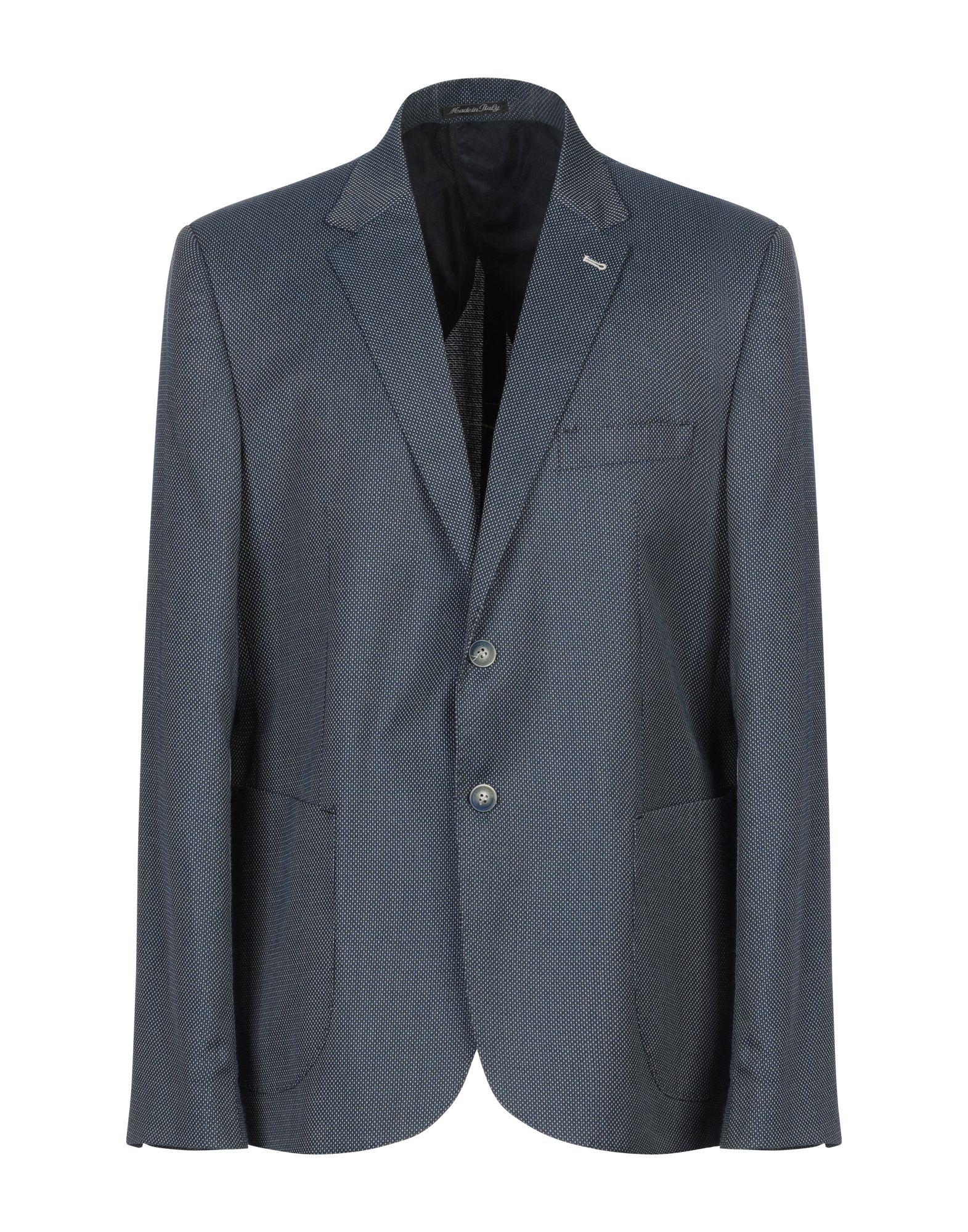 《期間限定セール開催中!》EREDI DEL DUCA メンズ テーラードジャケット ブルー 46 ポリエステル 82% / レーヨン 17% / ポリウレタン 1%