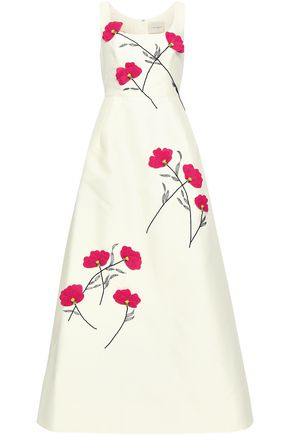 CAROLINA HERRERA Floral-appliquéd embroidered faille gown