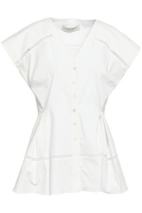 CAROLINA HERRERA Crochet-trimmed cotton-blend poplin peplum top