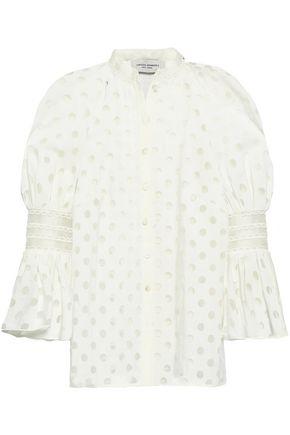 CAROLINA HERRERA Polka-dot organza-jacquard blouse