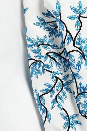 CAROLINA HERRERA Embroidered cotton-blend poplin shirt