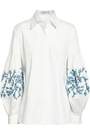 CAROLINA HERRERA Embroidered cotton-blend poplin shirt