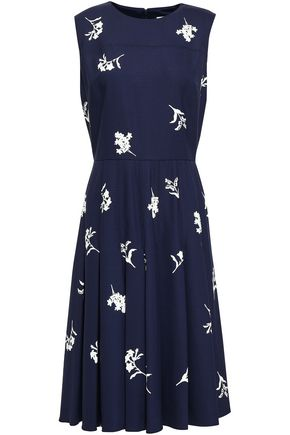CAROLINA HERRERA Floral-print wool-blend dress