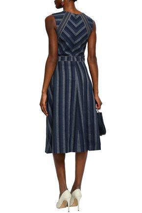 CAROLINA HERRERA Striped linen and cotton-blend midi dress