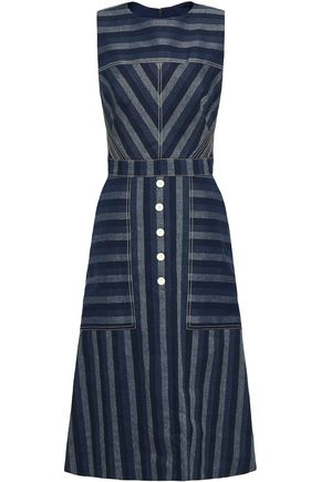 CAROLINA HERRERA Striped linen and cotton-blend midi dress