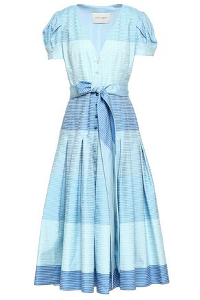 CAROLINA HERRERA Pleated striped cotton midi dress