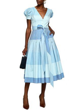 CAROLINA HERRERA Pleated striped cotton midi dress