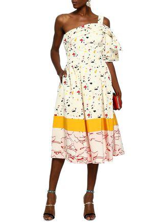 CAROLINA HERRERA One-shoulder printed cotton-blend midi dress
