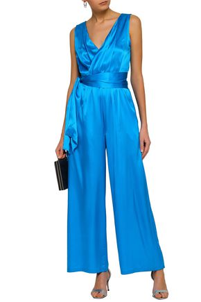 PAPER London Belted stretch-silk satin jumpsuit