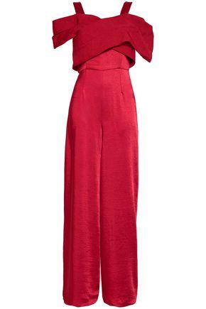 PAPER London Cold-shoulder woven-paneled satin jumpsuit