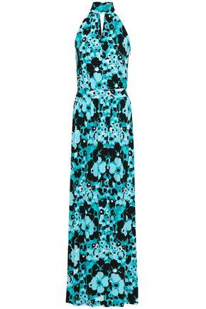 MICHAEL MICHAEL KORS Floral-print stretch-jersey halterneck maxi dress