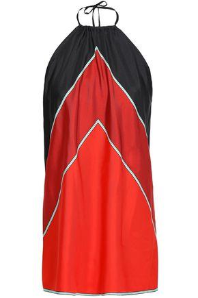 DIANE VON FURSTENBERG Color-block silk-twill halterneck top