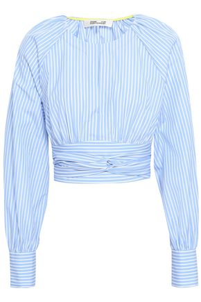 DIANE VON FURSTENBERG Cropped striped cotton-poplin top
