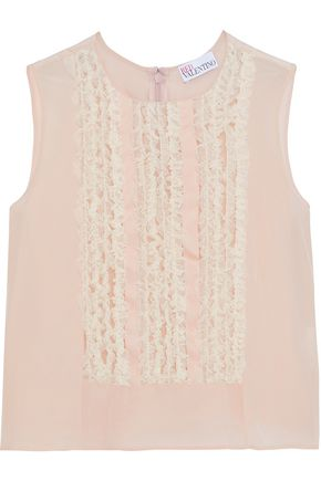 REDValentino Ruffled tulle-trimmed silk crepe de chine top