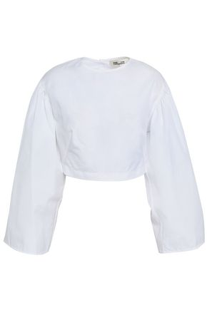 DIANE VON FURSTENBERG Cropped cotton-poplin top