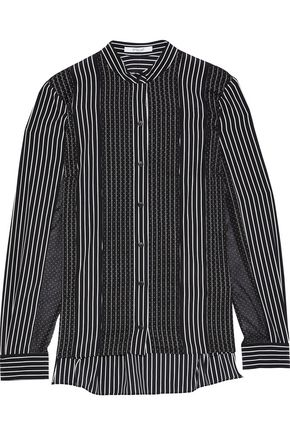 DEREK LAM 10 CROSBY Swiss-dot and striped stretch-silk shirt